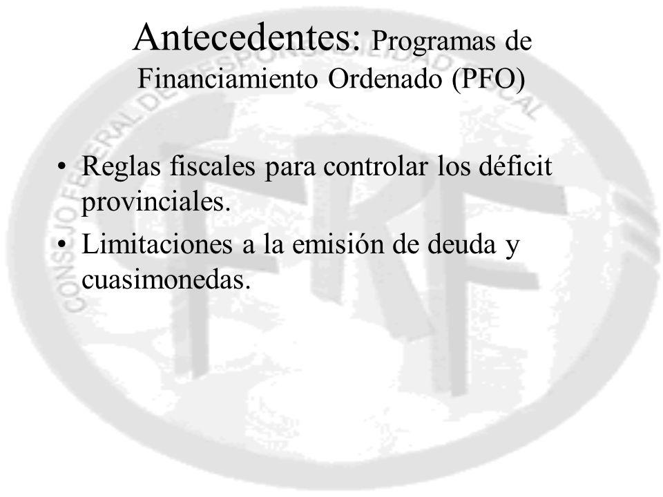 Antecedentes: Programas de Financiamiento Ordenado (PFO)