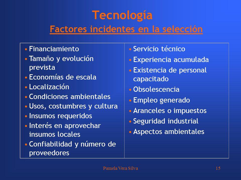 Tecnología Factores incidentes en la selección Financiamiento