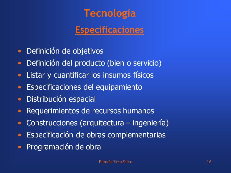 Tecnología Especificaciones Definición de objetivos