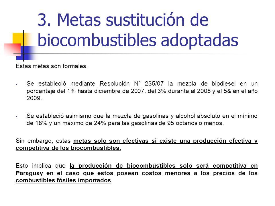 3. Metas sustitución de biocombustibles adoptadas
