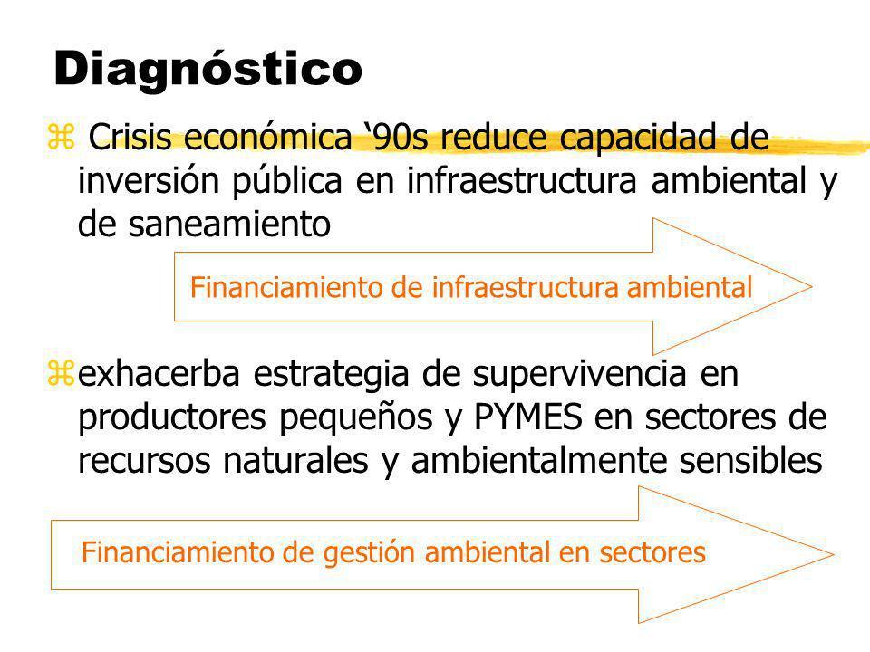 Diagnóstico Crisis económica '90s reduce capacidad de inversión pública en infraestructura ambiental y de saneamiento.