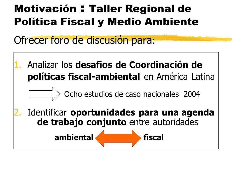Motivación : Taller Regional de Política Fiscal y Medio Ambiente