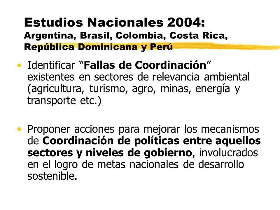 Estudios Nacionales 2004: Argentina, Brasil, Colombia, Costa Rica, República Dominicana y Perú