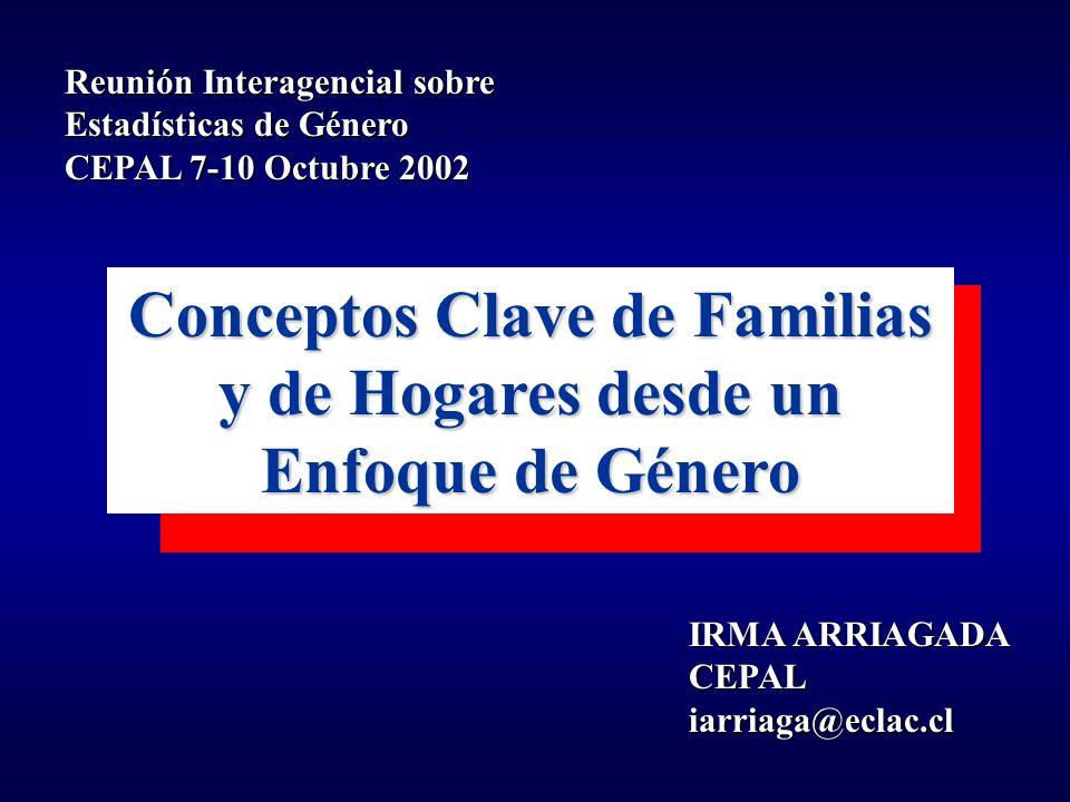 Conceptos Clave de Familias y de Hogares desde un Enfoque de Género