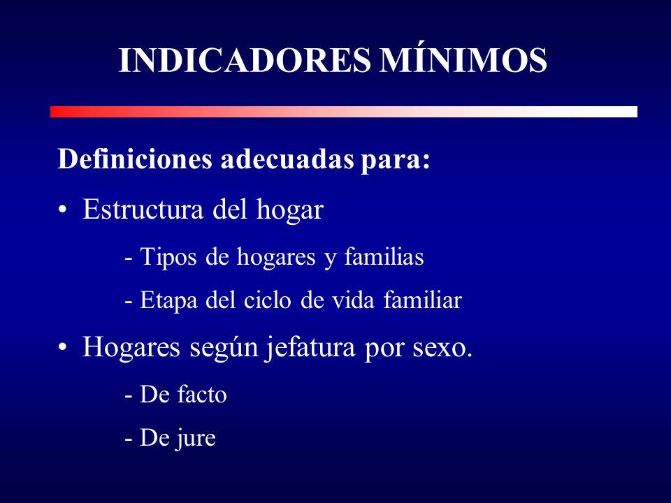 INDICADORES MÍNIMOS Definiciones adecuadas para: Estructura del hogar