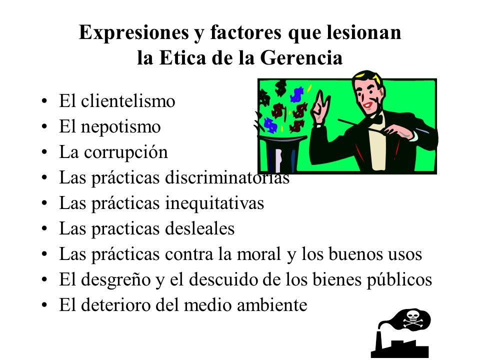 Expresiones y factores que lesionan la Etica de la Gerencia