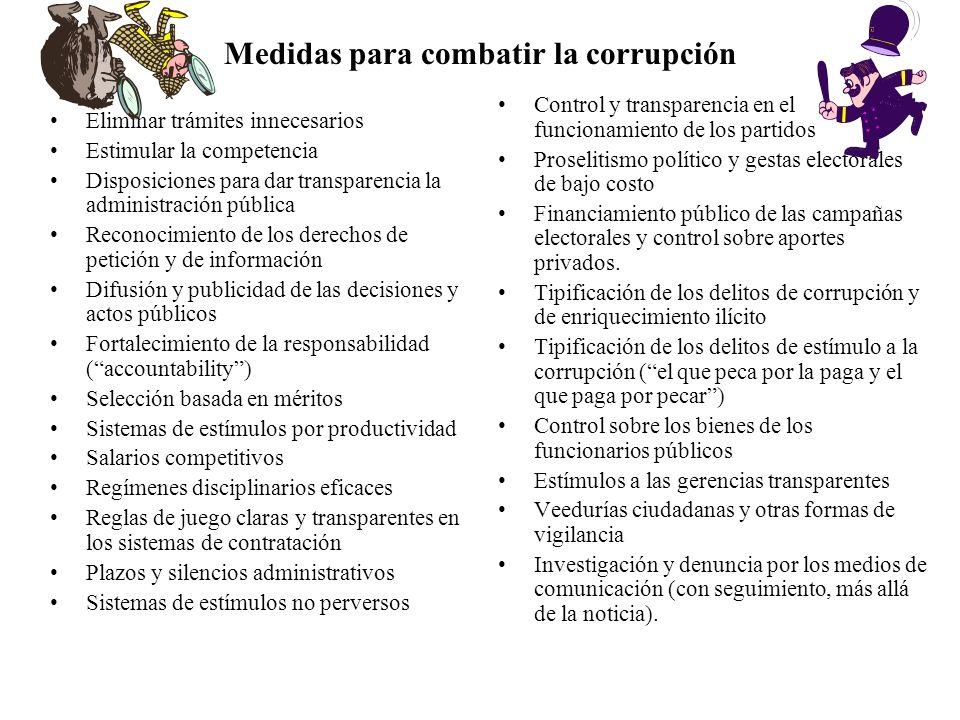 Medidas para combatir la corrupción