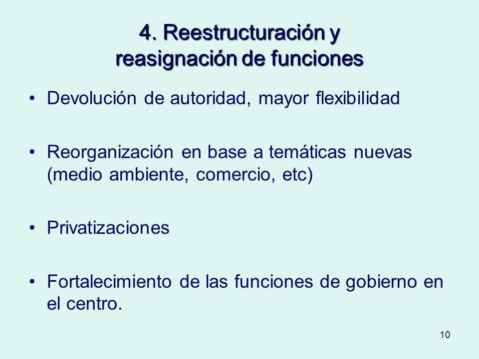 4. Reestructuración y reasignación de funciones