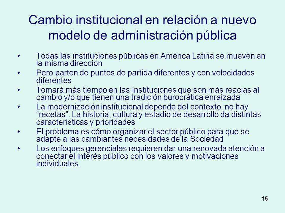 Cambio institucional en relación a nuevo modelo de administración pública