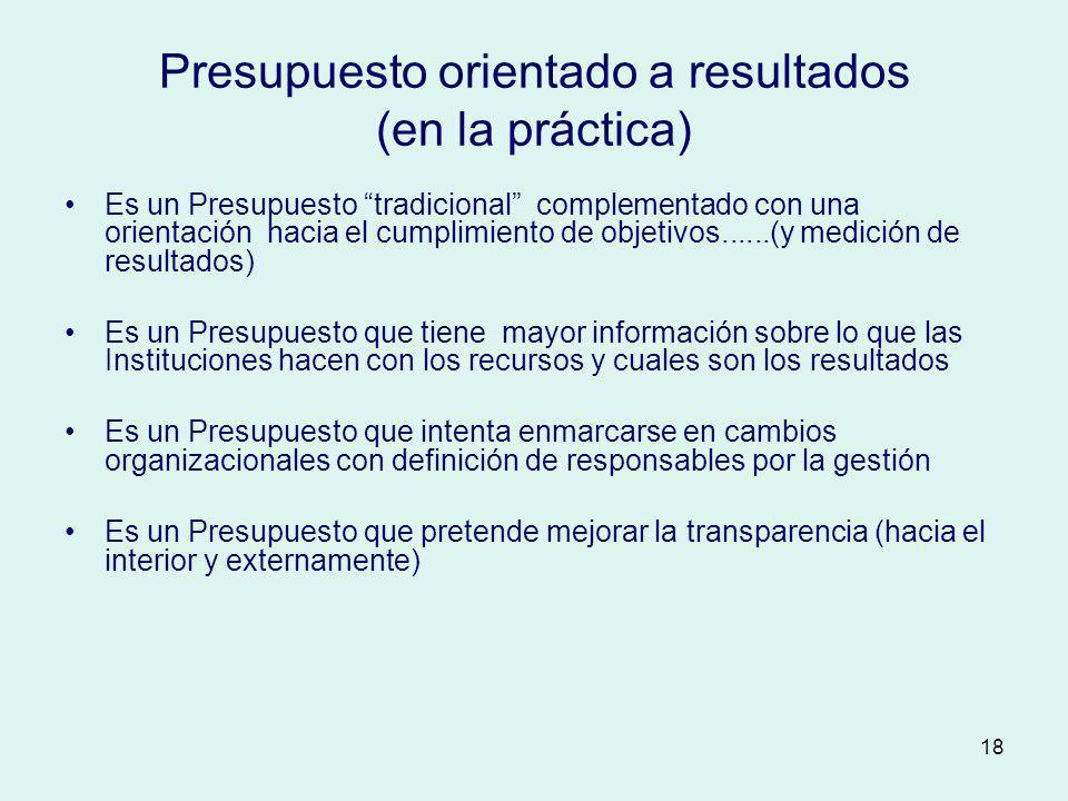 Presupuesto orientado a resultados (en la práctica)
