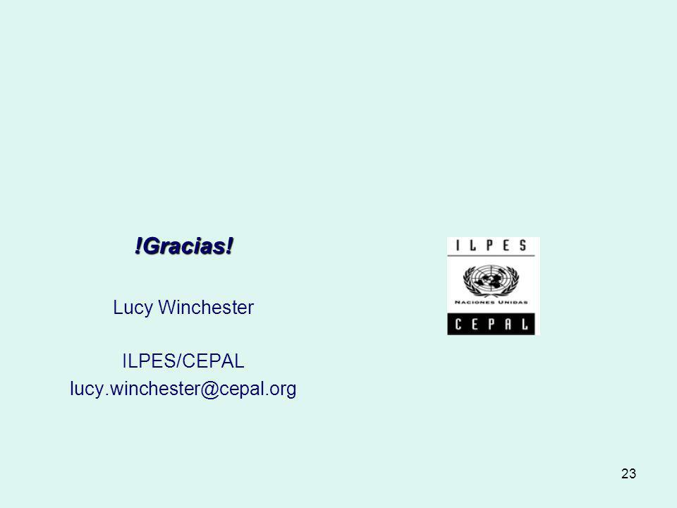 !Gracias! Lucy Winchester ILPES/CEPAL