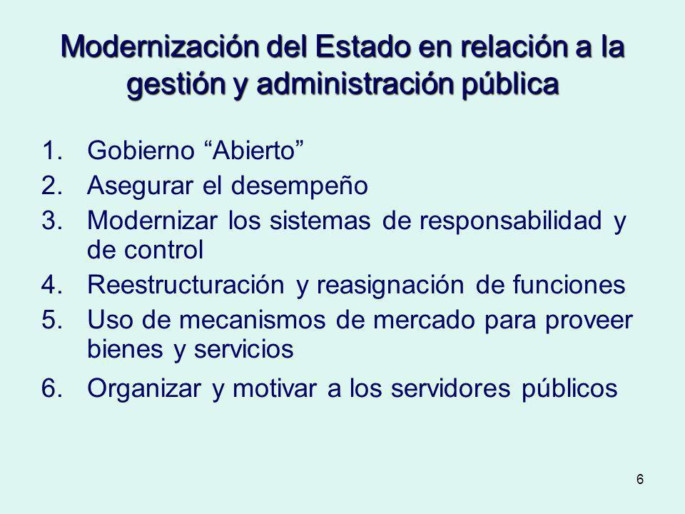 Modernización del Estado en relación a la gestión y administración pública