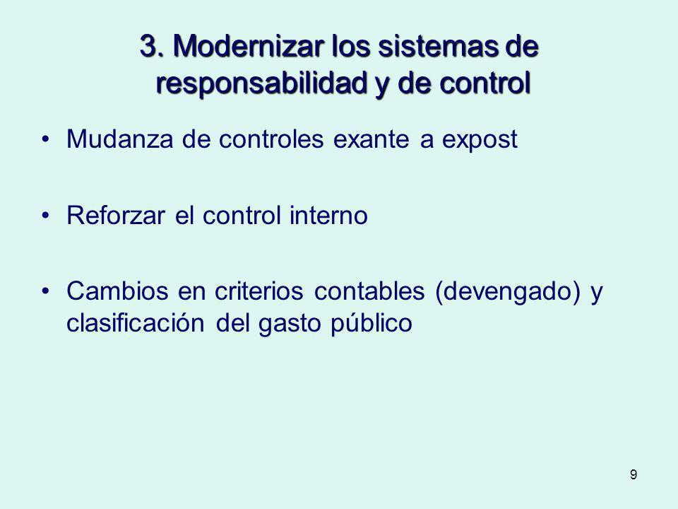 3. Modernizar los sistemas de responsabilidad y de control