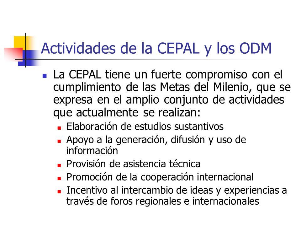 Actividades de la CEPAL y los ODM
