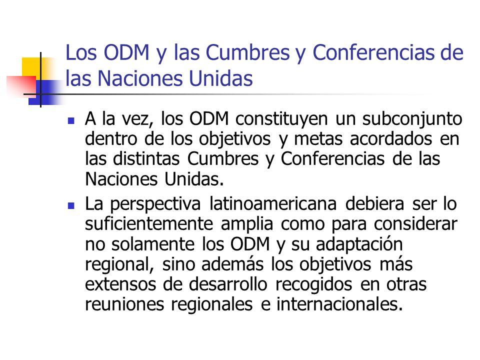 Los ODM y las Cumbres y Conferencias de las Naciones Unidas
