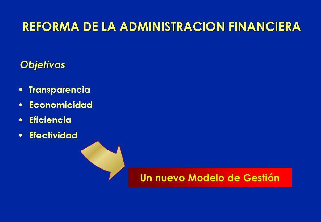 REFORMA DE LA ADMINISTRACION FINANCIERA Un nuevo Modelo de Gestión