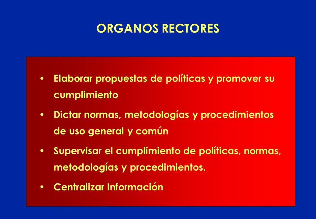 ORGANOS RECTORES Elaborar propuestas de políticas y promover su cumplimiento. Dictar normas, metodologías y procedimientos de uso general y común.