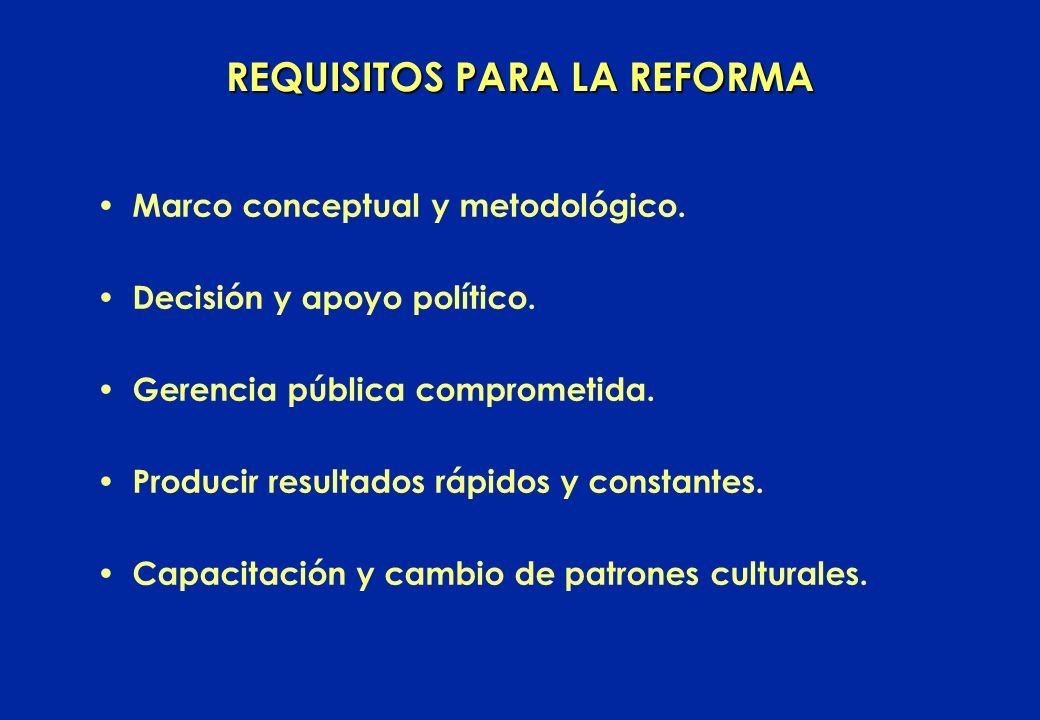 REQUISITOS PARA LA REFORMA