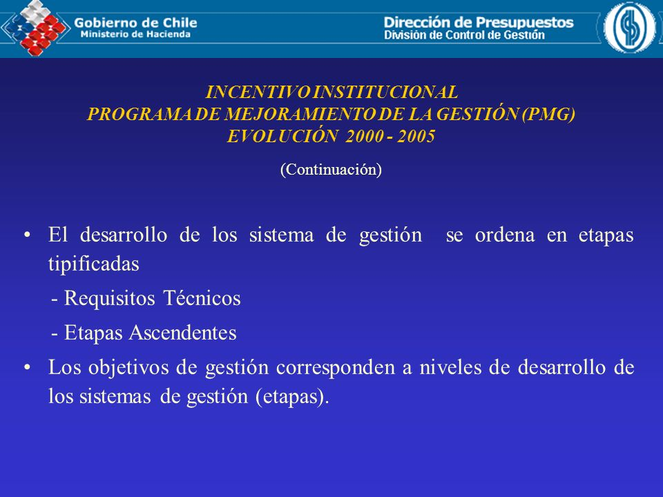 INCENTIVO INSTITUCIONAL PROGRAMA DE MEJORAMIENTO DE LA GESTIÓN (PMG) EVOLUCIÓN 2000 - 2005