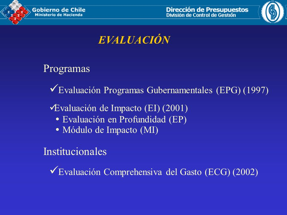 Evaluación Programas Gubernamentales (EPG) (1997)