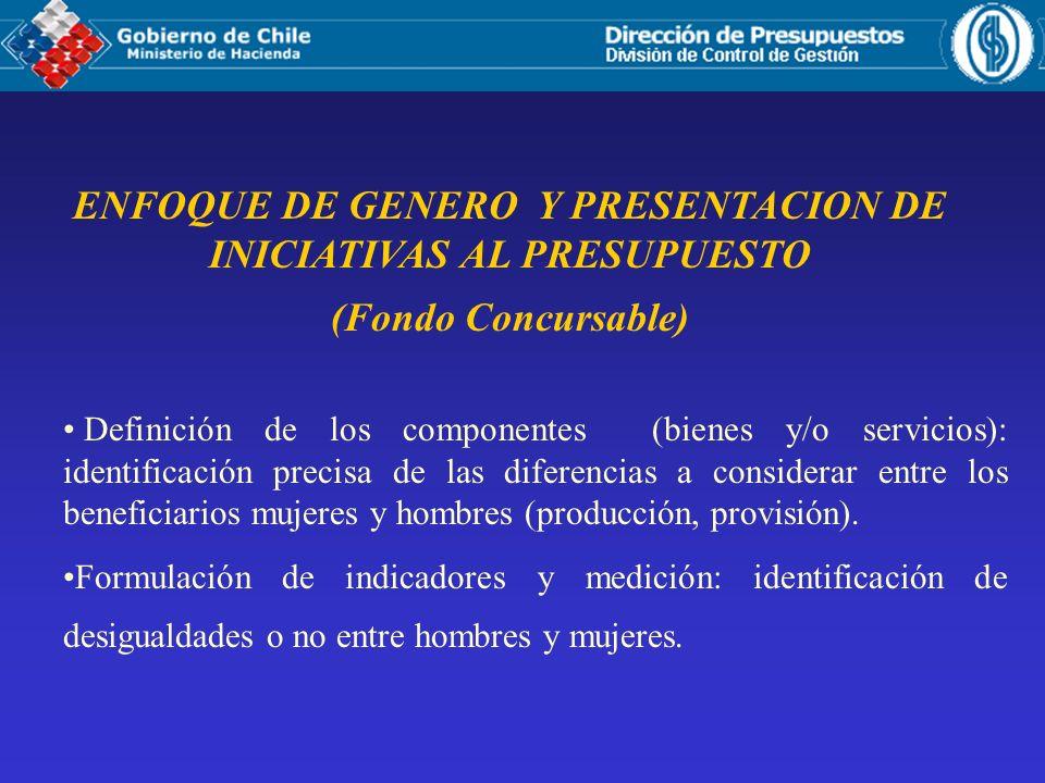 ENFOQUE DE GENERO Y PRESENTACION DE INICIATIVAS AL PRESUPUESTO