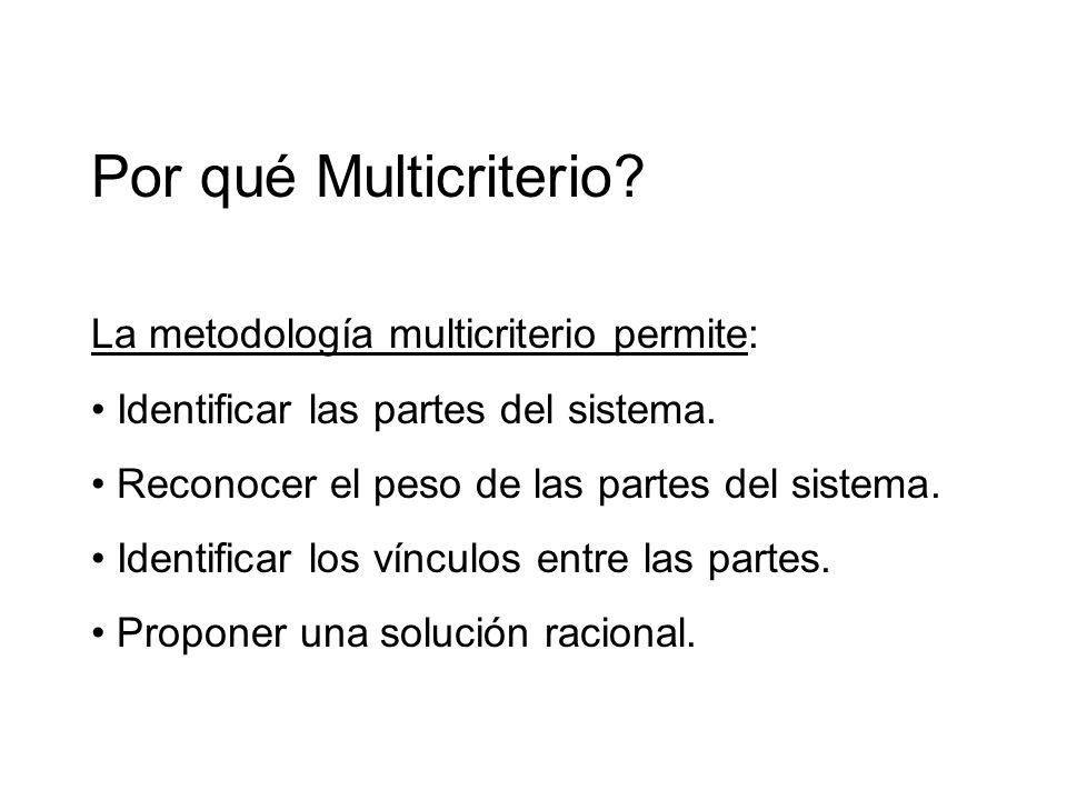 Por qué Multicriterio La metodología multicriterio permite: