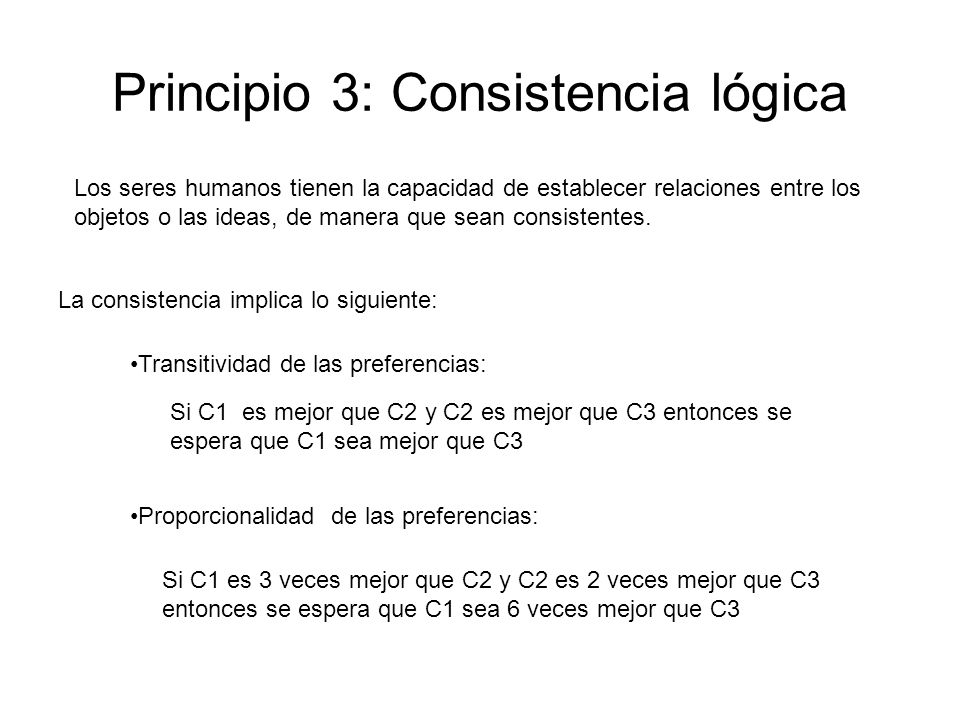 Principio 3: Consistencia lógica