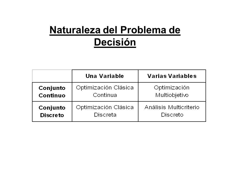 Naturaleza del Problema de Decisión