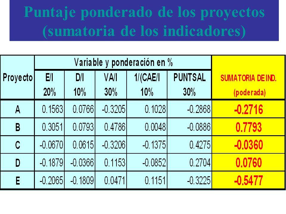 Puntaje ponderado de los proyectos (sumatoria de los indicadores)