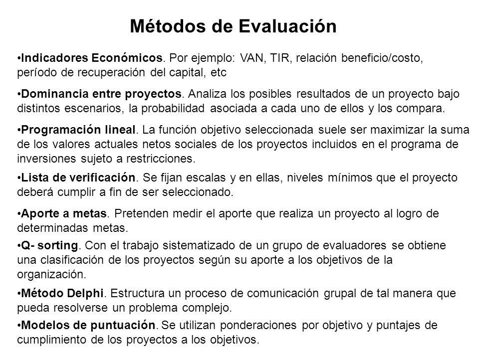 Métodos de EvaluaciónIndicadores Económicos. Por ejemplo: VAN, TIR, relación beneficio/costo, período de recuperación del capital, etc.