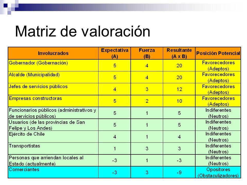 Matriz de valoración