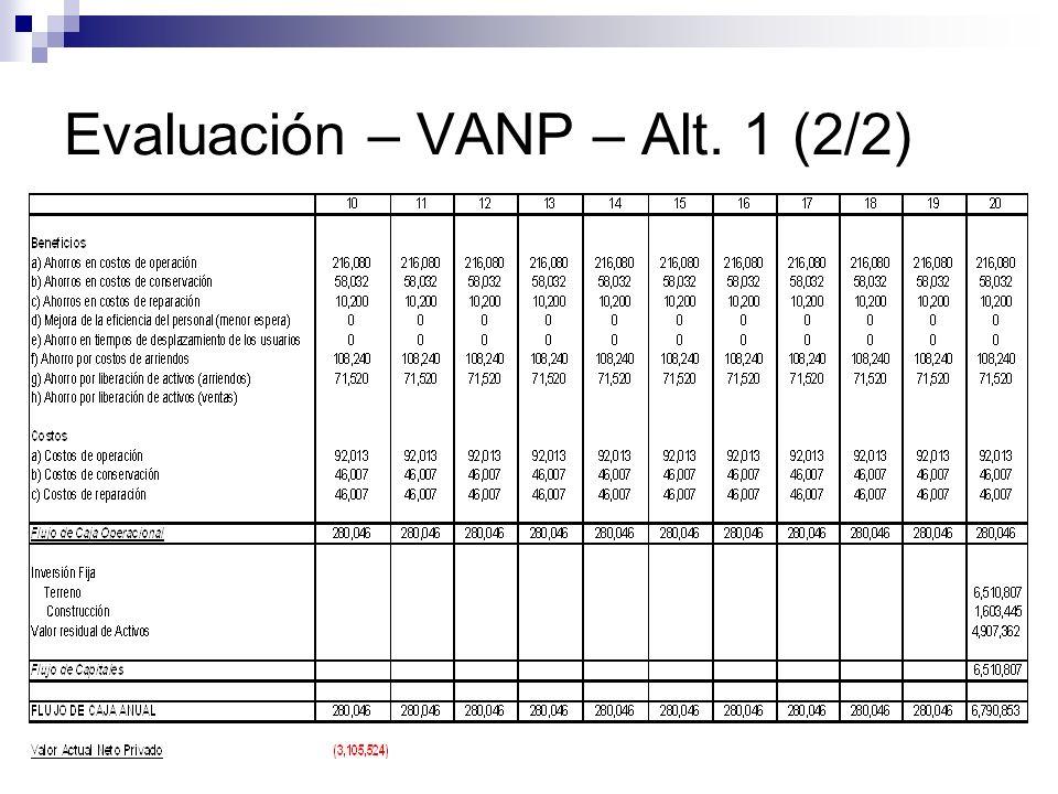 Evaluación – VANP – Alt. 1 (2/2)