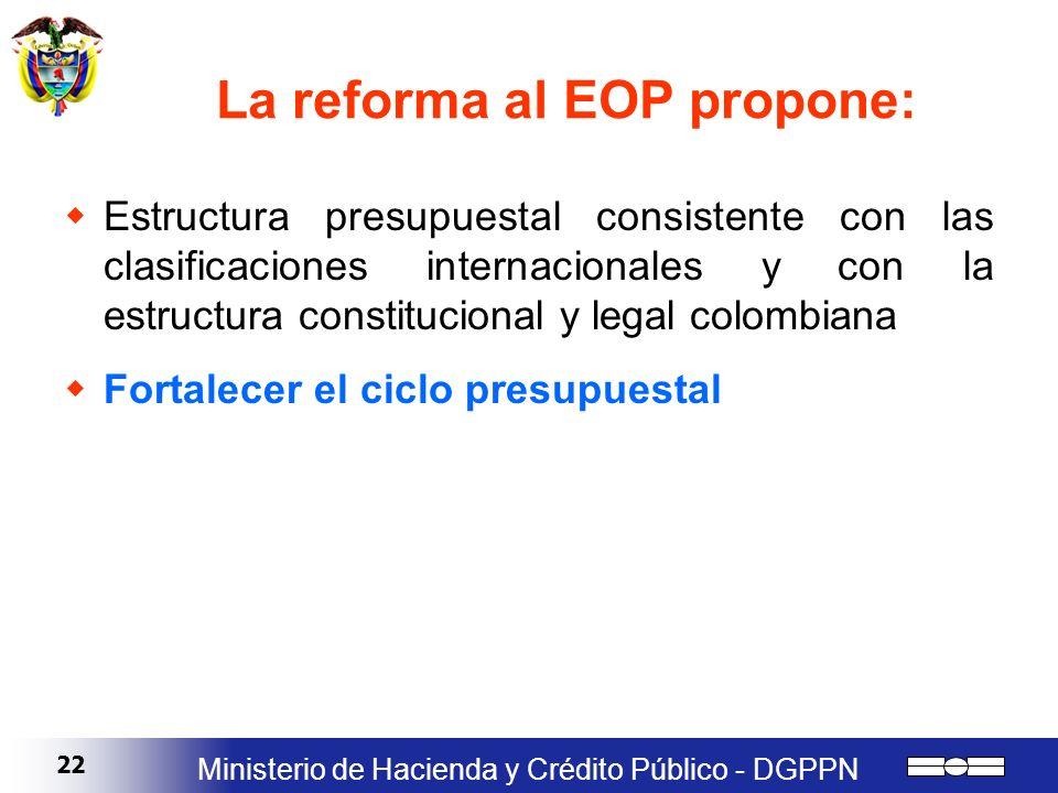 La reforma al EOP propone: