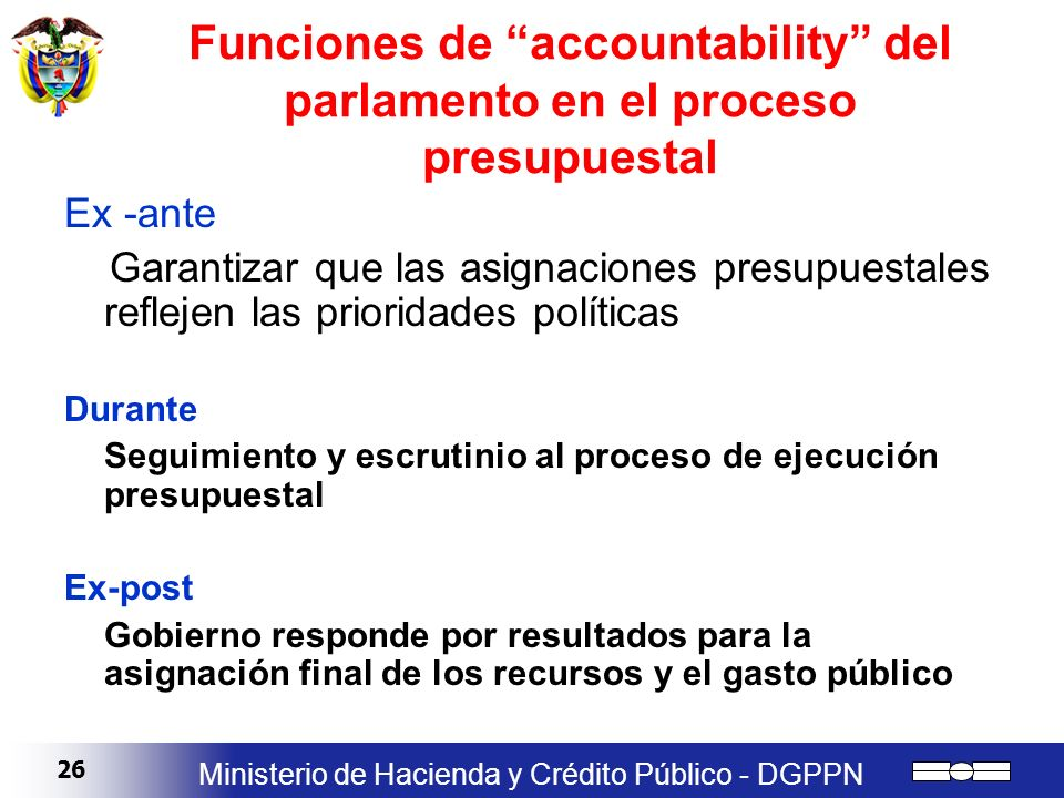 Funciones de accountability del parlamento en el proceso presupuestal