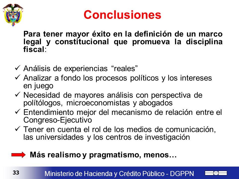 ConclusionesPara tener mayor éxito en la definición de un marco legal y constitucional que promueva la disciplina fiscal: