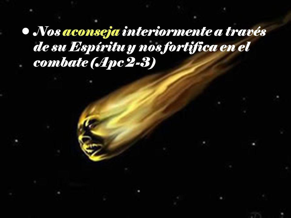 Nos aconseja interiormente a través de su Espíritu y nos fortifica en el combate (Apc 2-3)