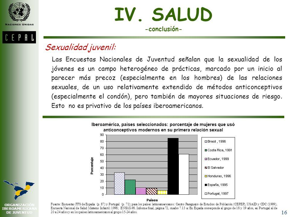 IV. SALUD -conclusión- Sexualidad juvenil: