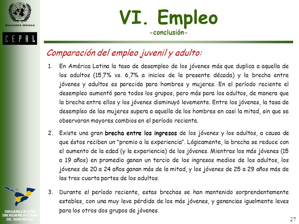VI. Empleo -conclusión-