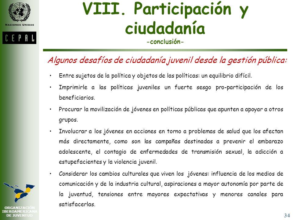VIII. Participación y ciudadanía -conclusión-