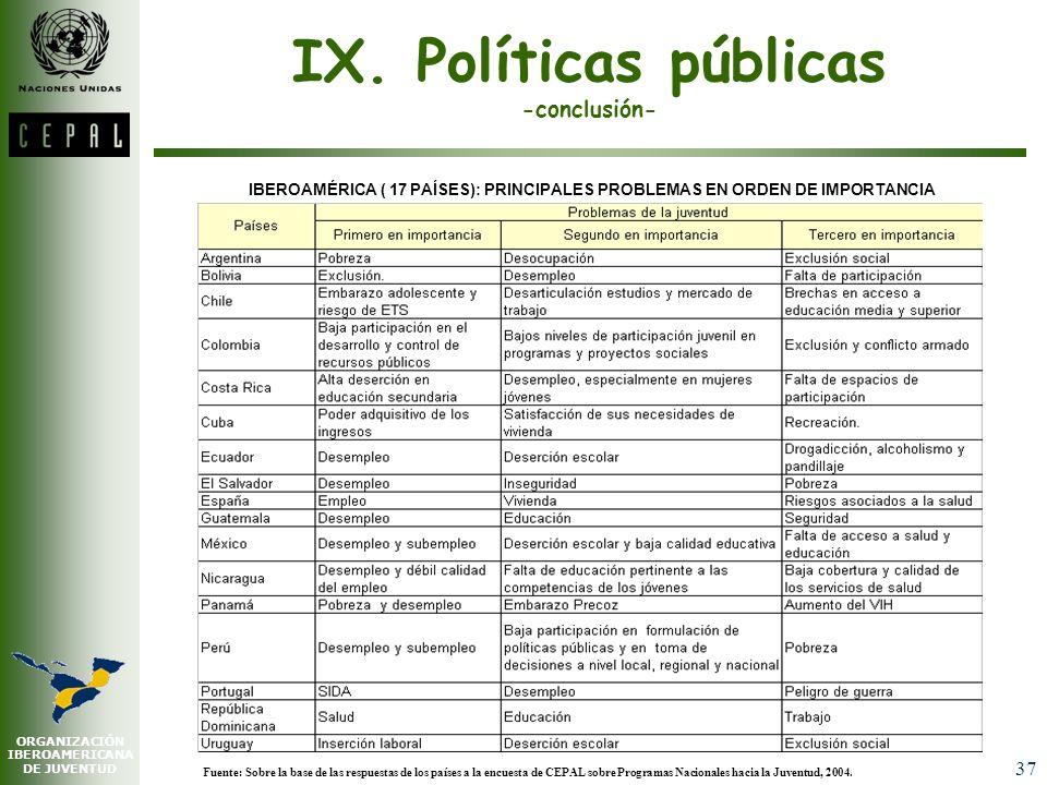 IX. Políticas públicas -conclusión-