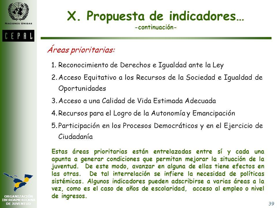X. Propuesta de indicadores… -continuación-
