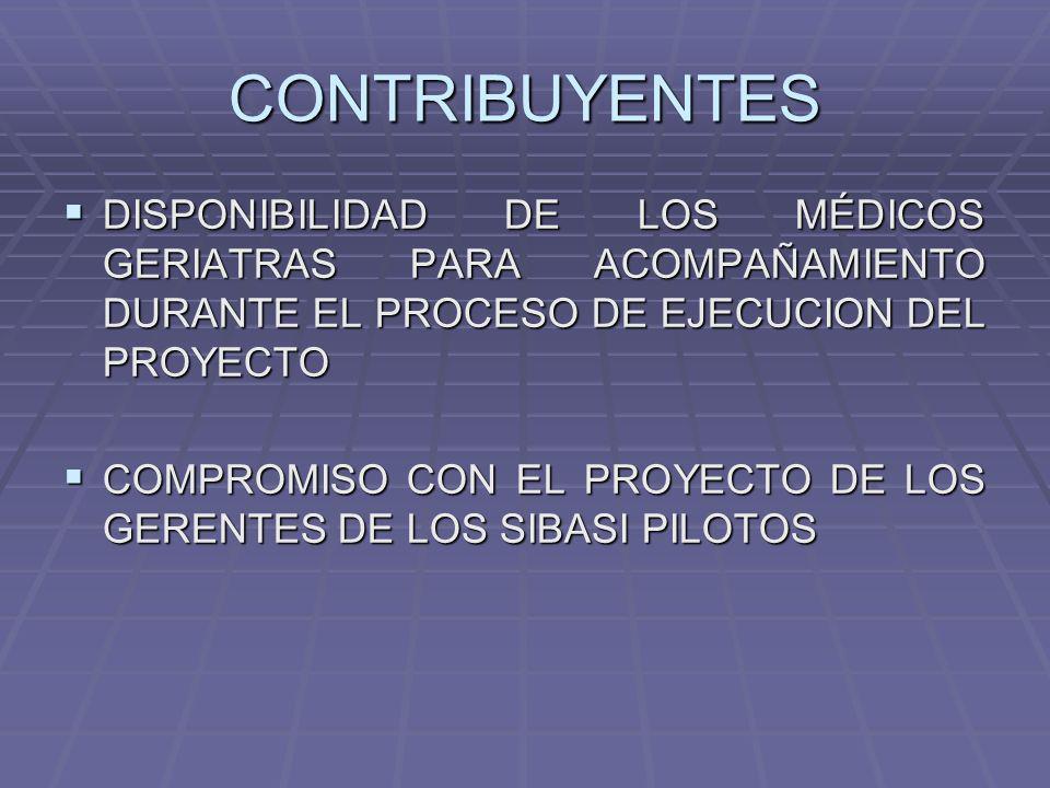 CONTRIBUYENTES DISPONIBILIDAD DE LOS MÉDICOS GERIATRAS PARA ACOMPAÑAMIENTO DURANTE EL PROCESO DE EJECUCION DEL PROYECTO.