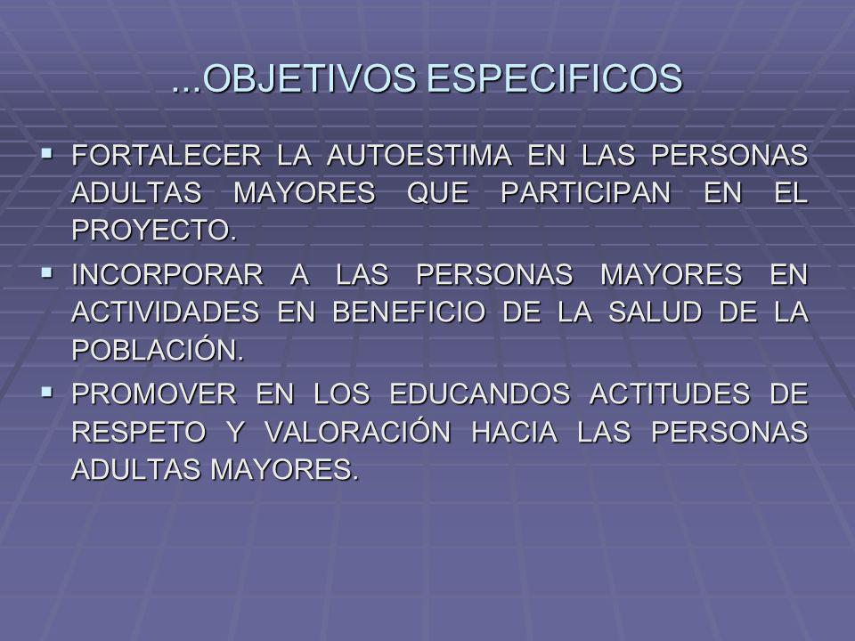 ...OBJETIVOS ESPECIFICOS