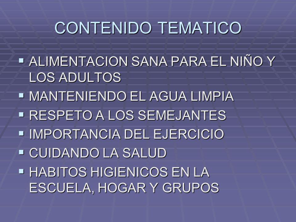 CONTENIDO TEMATICO ALIMENTACION SANA PARA EL NIÑO Y LOS ADULTOS