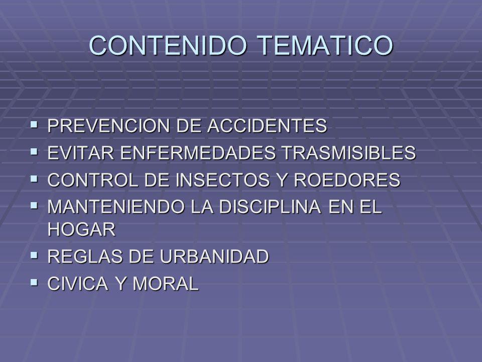 CONTENIDO TEMATICO PREVENCION DE ACCIDENTES