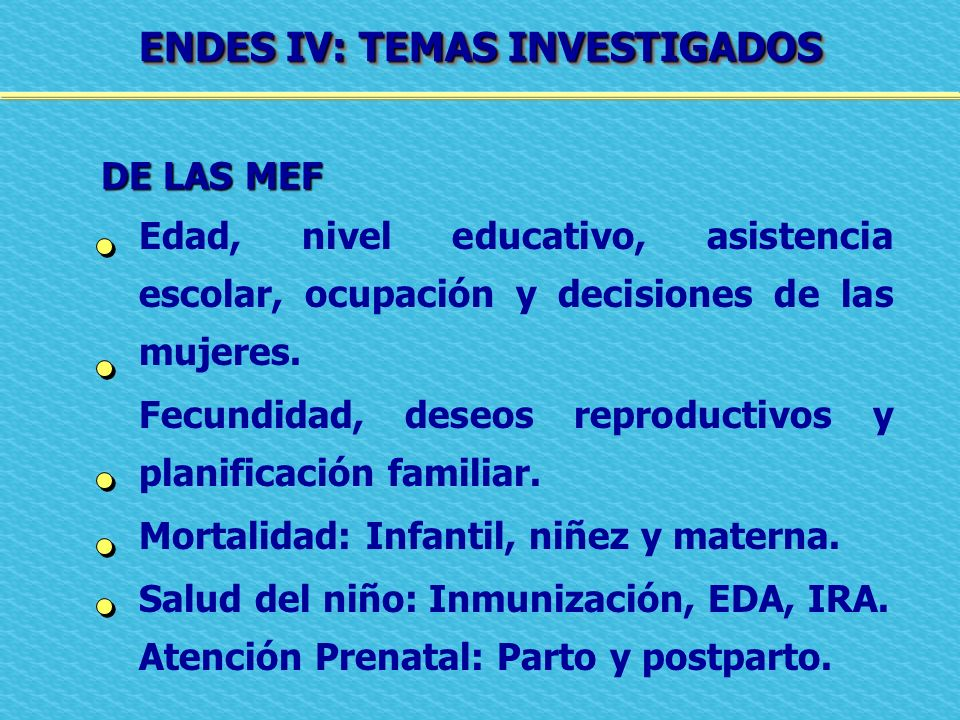 ENDES IV: TEMAS INVESTIGADOS