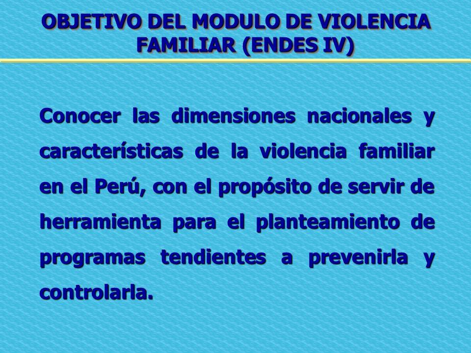 OBJETIVO DEL MODULO DE VIOLENCIA FAMILIAR (ENDES IV)