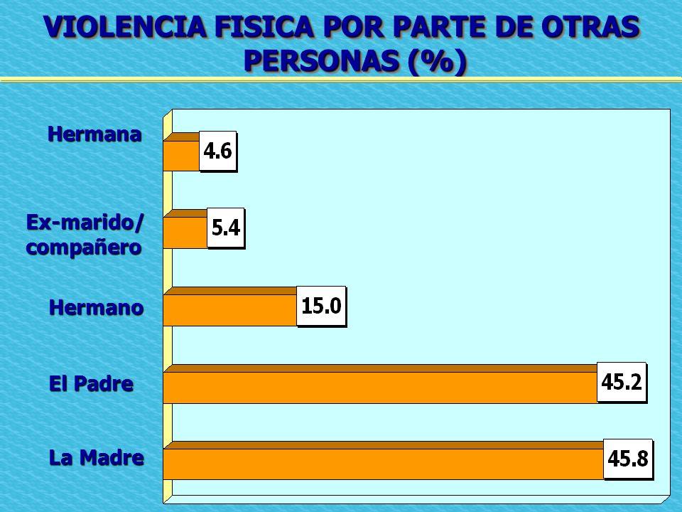 VIOLENCIA FISICA POR PARTE DE OTRAS PERSONAS (%)
