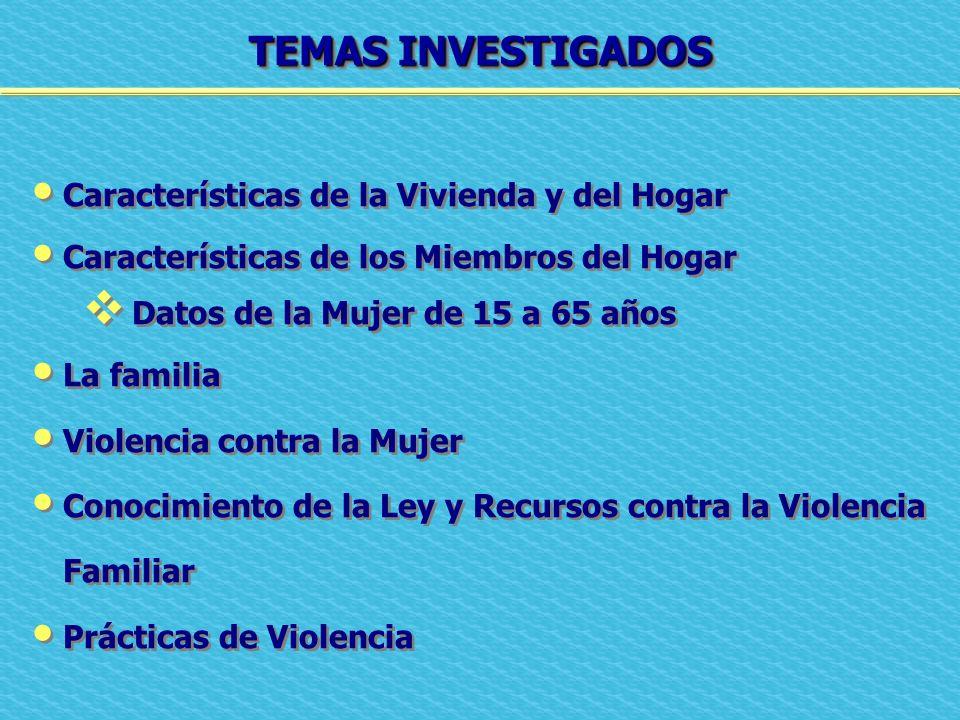 TEMAS INVESTIGADOS Características de la Vivienda y del Hogar