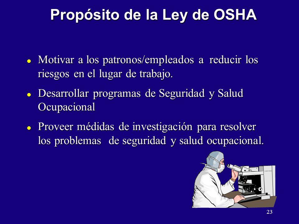 Propósito de la Ley de OSHA